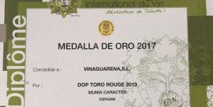 Medalla de Oro para el Munia Caracter 2013 en el Challange International Du Vin 2017