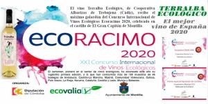El vino Terralba Ecológico de Cooperativa Albarizas, fué el ganador de Ecoracimo 2020